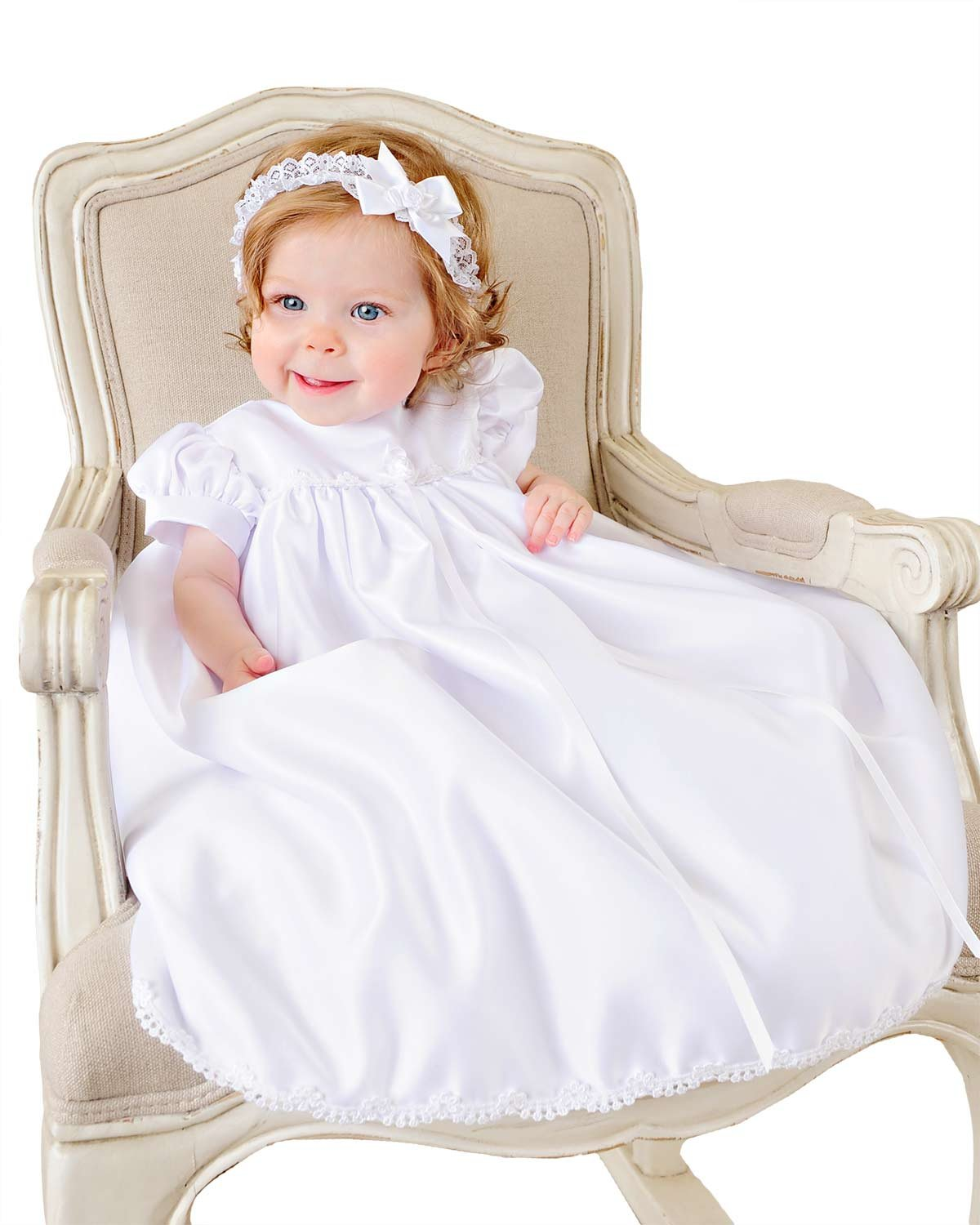 Satin 6 Month Christening, Baptism or Blessing Gowns. Made in the USA