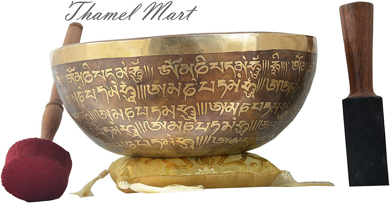 10Mantra carved G Chakra Tibetan Singing Bowl,meditation bowl,Handmade singing bowl from Nepal