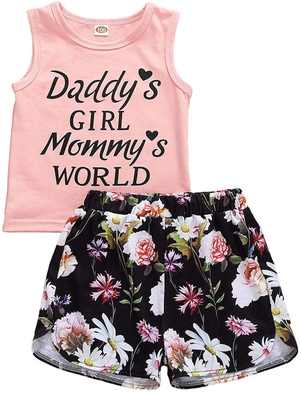 Toddler Baby Girls Shorts Set Sleeveless Shirts Top Dinosaur Printed Short Pants 2Pcs Summer Clothes Outfits