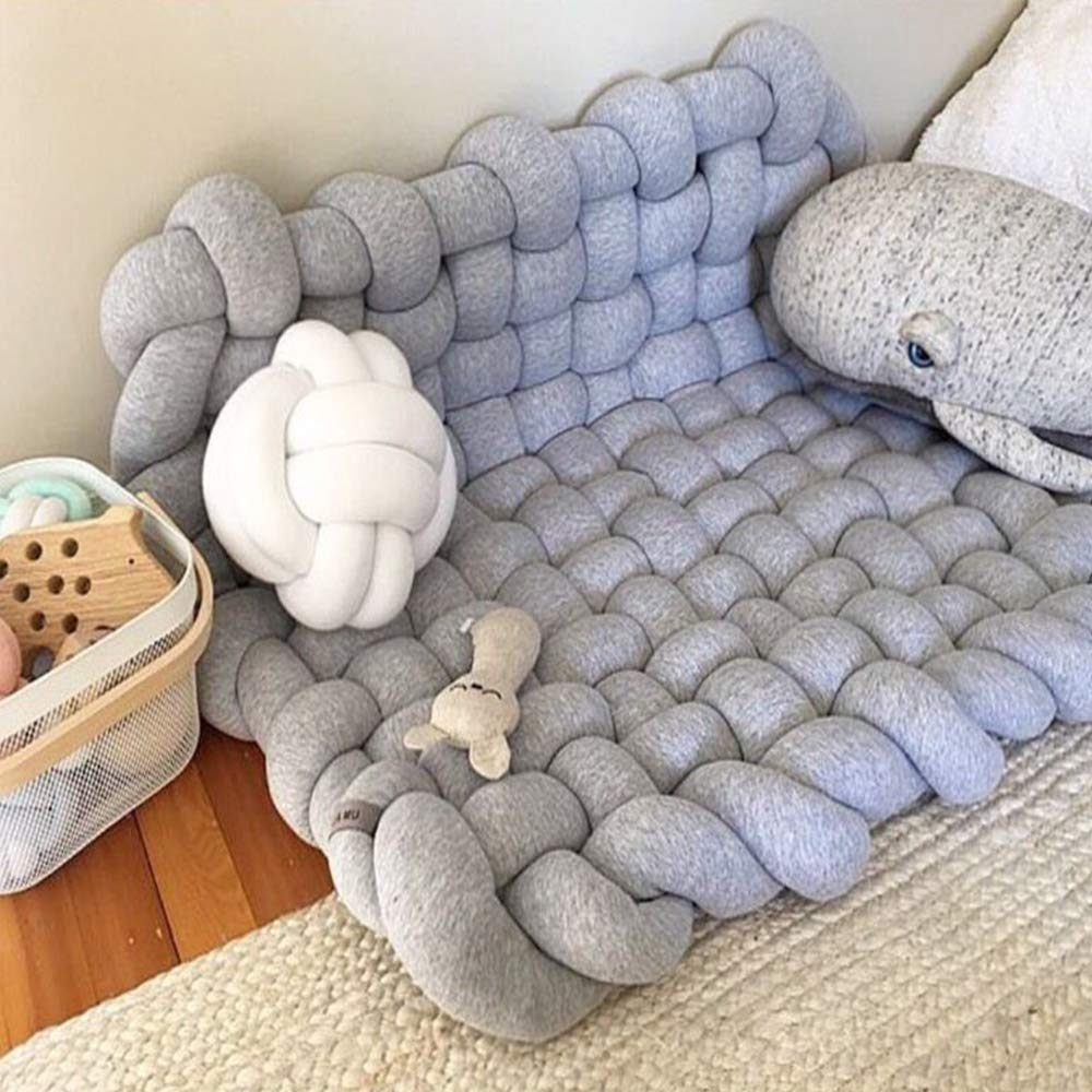 Wonder Space Knotted Nursery Mat & Ball Pit & Foam Play Structure, Indoor Baby Kids Early Learning Playing Set Climbing Crawling Development Gym Toy, Grey
