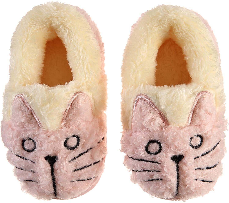 Baby Toddler Boys Girls House Slippers Kids Cartoon Cat Fuzzy Winter Warm Home Indoor Bedroom Shoes