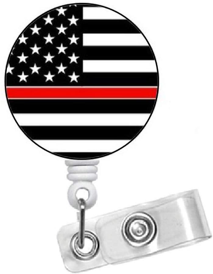 Fireman Badge Holder - Thin Red Line Badge - Medical Badge - Firemen Badge Reel - Gift Under 10 - Male Badge Reel - Alligator Swivel Clip - Belt Slide (Alligator Swivel Clip)