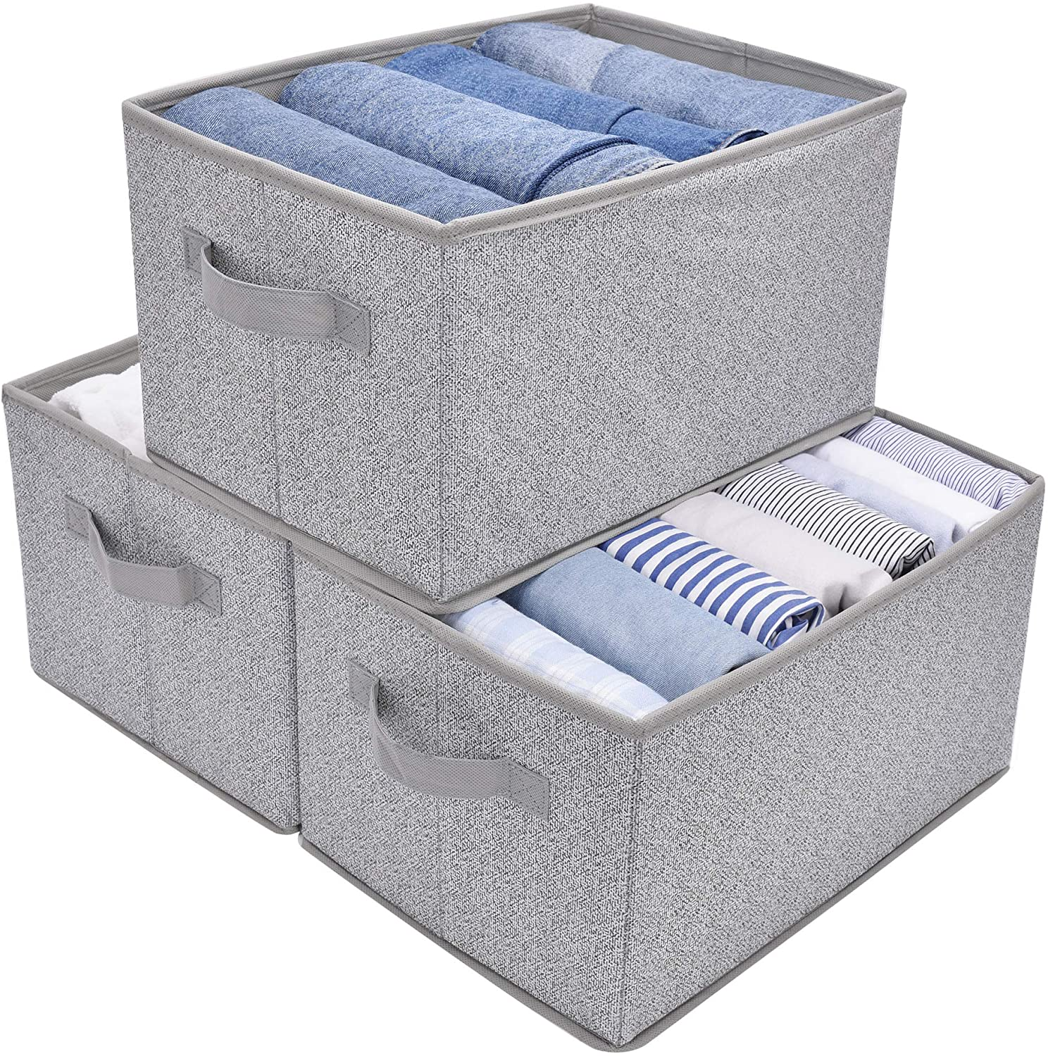 GRANNY SAYS Storage Bin for Shelves, Fabric Closet Organizer Shelf Cube Box with Handle Home Office Storage Baskets, Large, Gray, 3-Pack