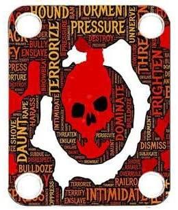 Custom Graphical Guitar Neck Plate Neckplate Skull Bully 1