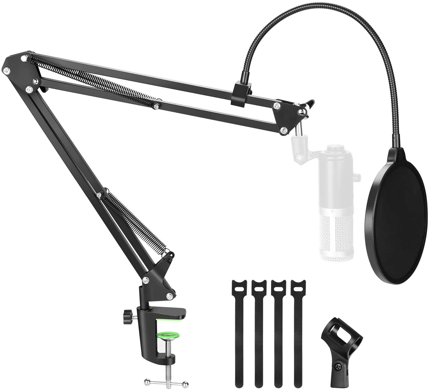 Microphone Stand, AGPTEK Upgraded Version Microphone Suspension Scissor Arm Stand with Pop Filter, Cable Ties and Microphone Holder, Adjustable Desk Microphone Stand for Snow Ball,Blue Yeti,Other Mics
