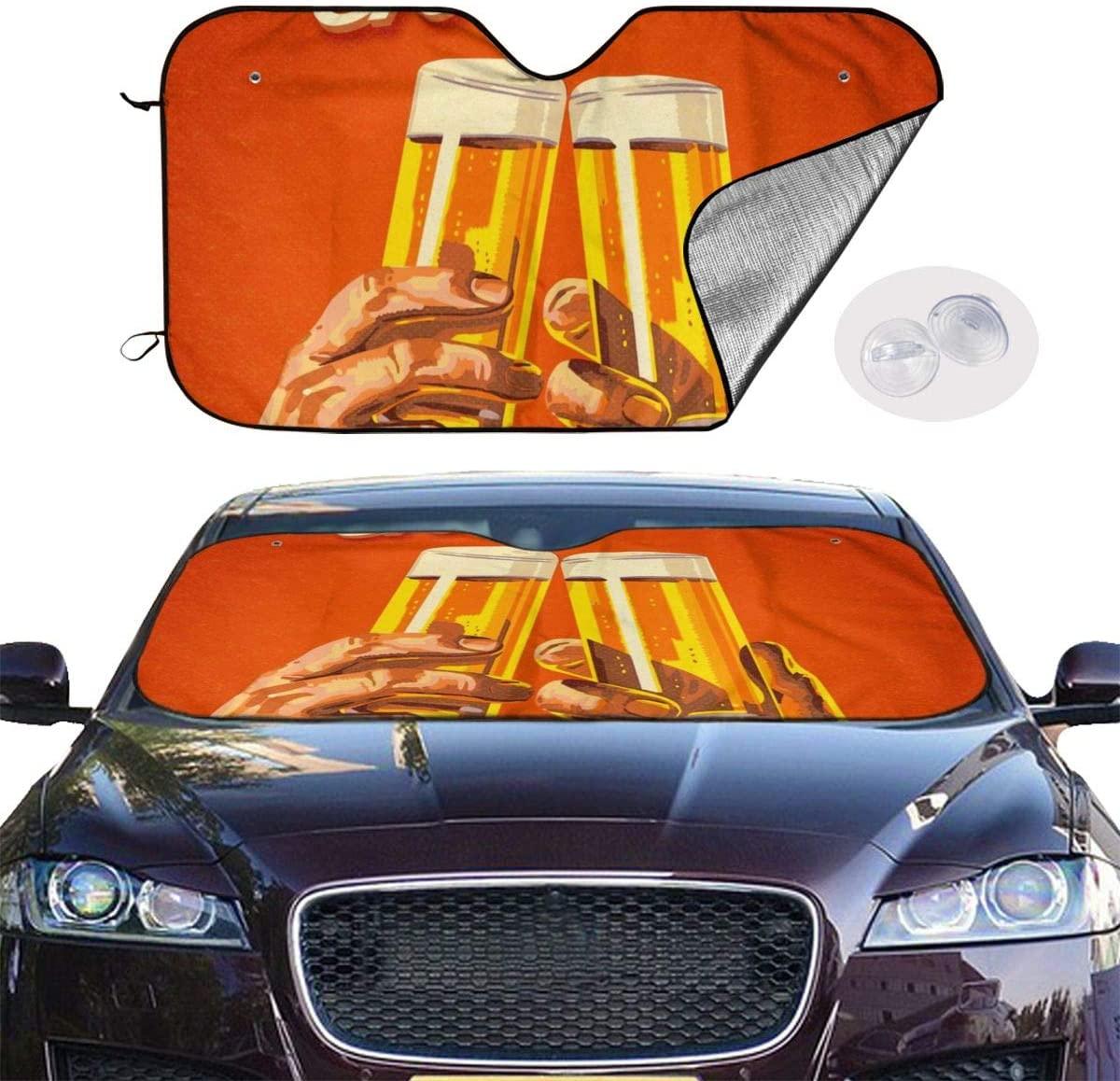 THONFIRE Car Windshield Sun Shade Cheers Beer Orange Blocks UV Rays Keeps Your Vehicle Cool Visor Protector Automobile Front Window Heatshield