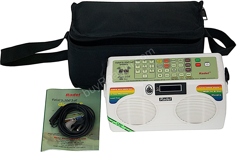 Electronic Tabla - RADEL Taalmala - Digi 108, Electronic Tabla & Manjira - Tabla Sampler, DJ Tabla Sound Machine, Instruction Manual, Power Cord, Bag (US-PDI-AAF)
