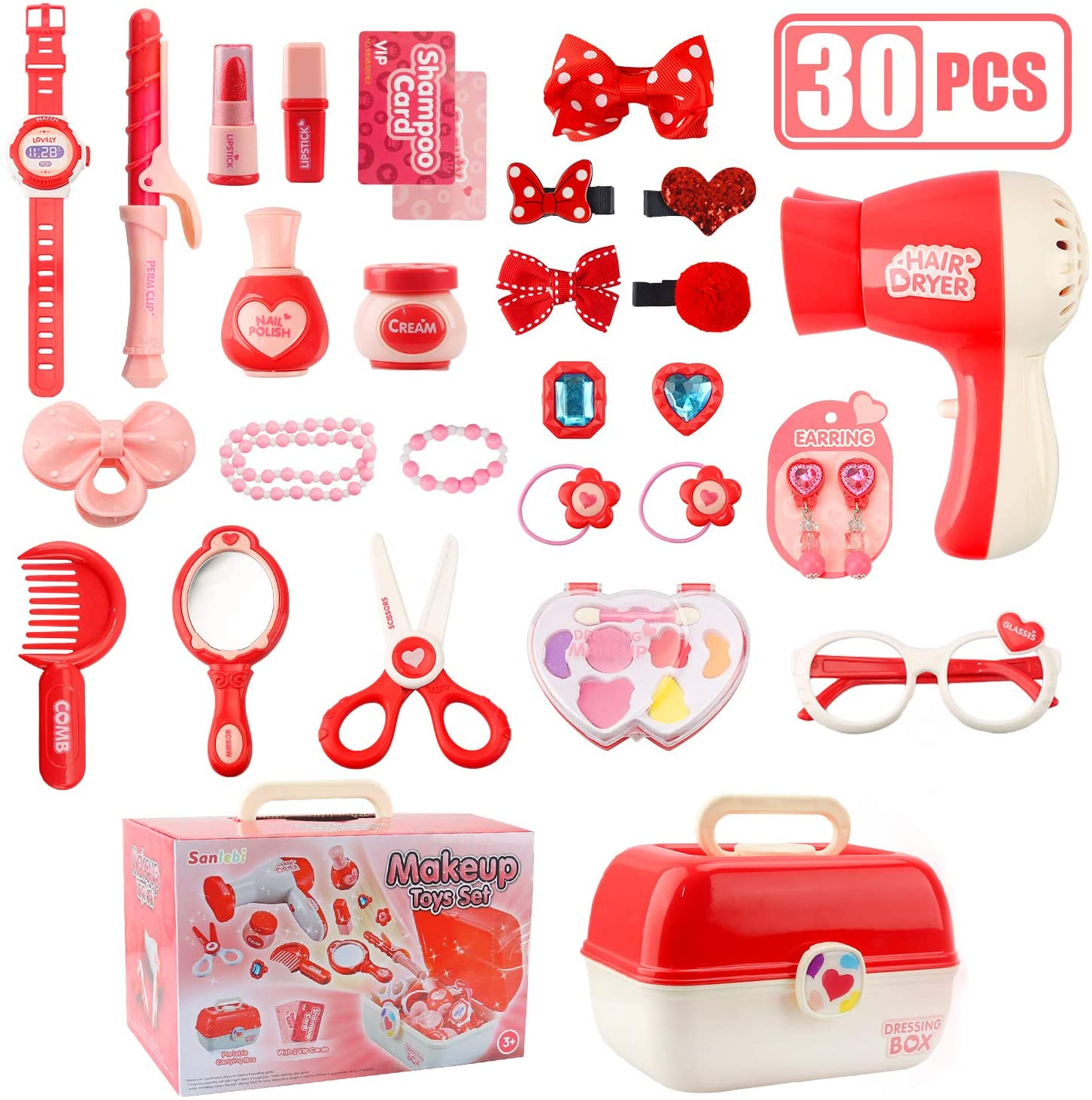 Sanlebi Pretend Makeup Set for Little Girls, Jewellery & Cosmetics Kit Princess Hair Dress Up Kit Hairdressing Play Set Educational Toys Gifts for 3 Year Olds Girls(30PCS)
