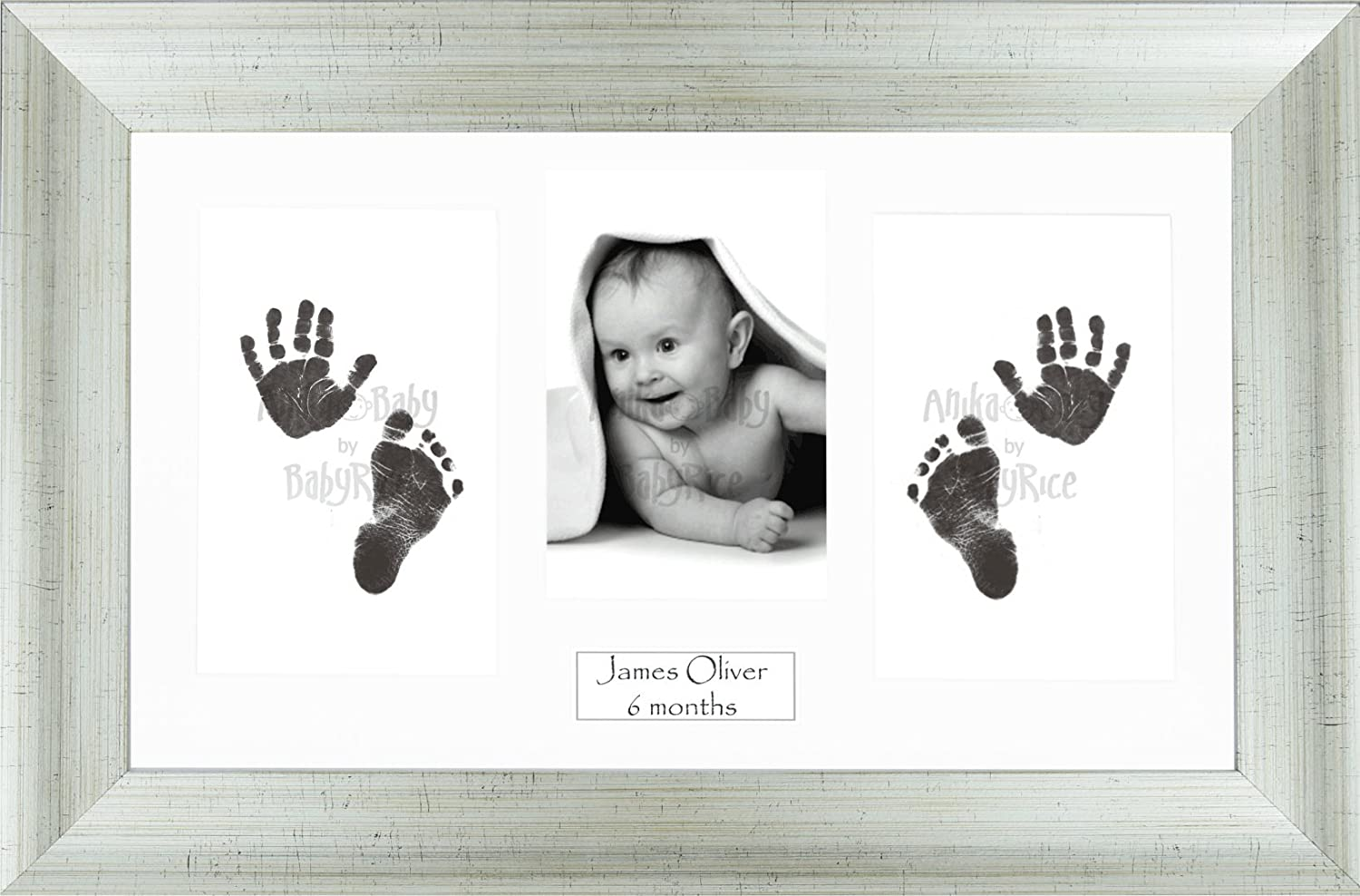 Anika-Baby BabyRice Baby Hand and Footprints Kit Includes Black Inkless Prints/Aged Antique Silver Effect Frame with White Mount Display