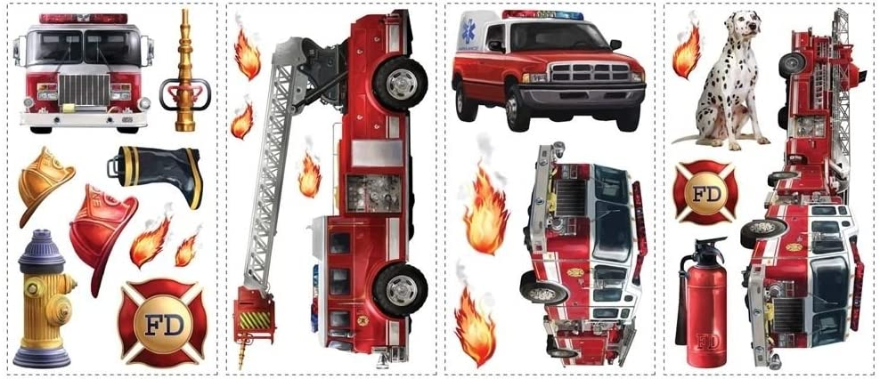 New FIRE TRUCKS WALL DECALS Fireman Bedroom Stickers Kids Red Decor Decorations