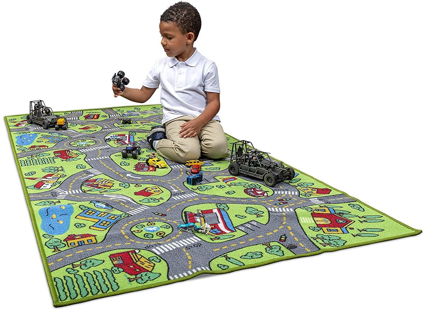 Kids Carpet Playmat City Life Extra Large Learn Have Fun Safe, Childrens Educational, Road Traffic System, Multi Color Activity Centerpiece Play Mat! Great For Playing With Cars For Bedroom Playroom
