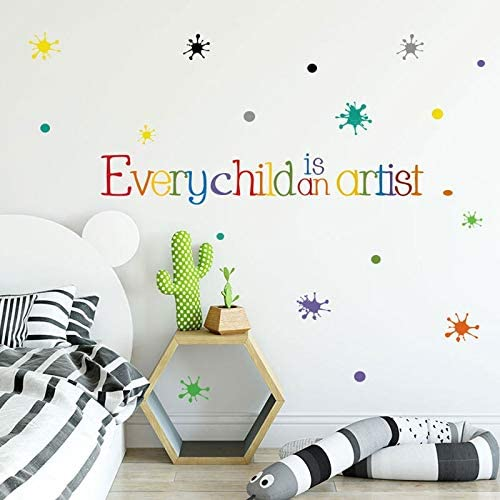 Tamengi Every Child is an Artist Wall Sticker English Proverbs for Kids Room Bedroom Decoration Home Decor