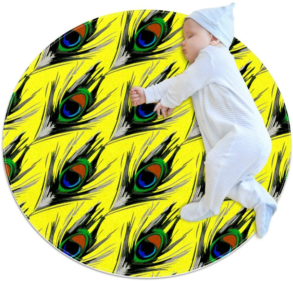 Peacock Feather Yellow Baby Crawling mat Home Decorative Carpet Soft and Washable Pad Non-Slip for Kid's Toddler Infants Room 2feet 3.5inch