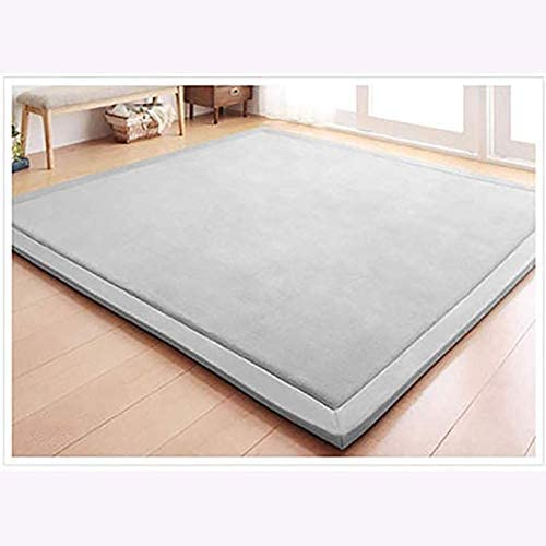 2cm Thick Super Soft Children Play Mat,not-Slip Tatami Rugs,Grey Coral Velvet Baby Crawling Mat,Kids Safe Carpets Thickness:2cm 200x200cm(79x79inch)