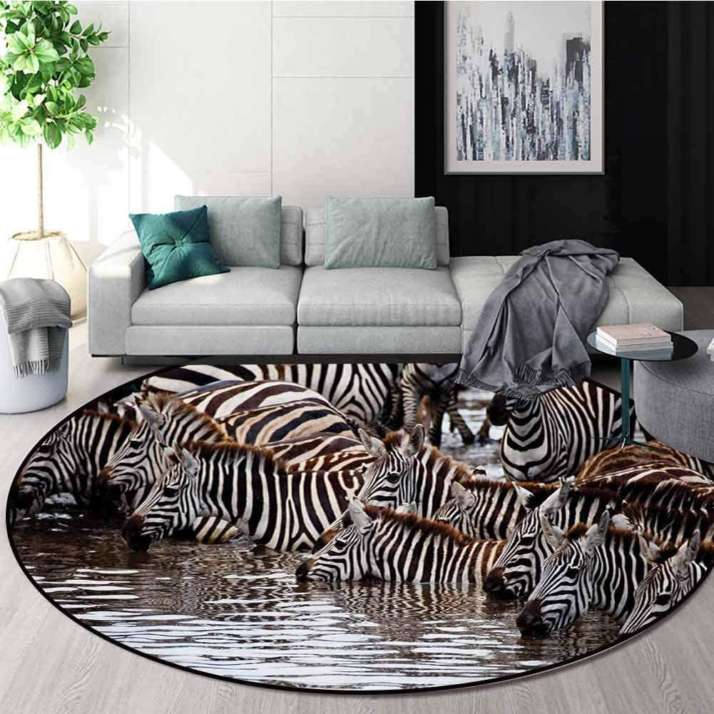 RUGSMAT Wildlife Machine Washable Round Bath Mat,Herd of Zebras and Wildebeest Drinking Water in Serengeti Tanzania Picture Non-Slip No-Shedding Bedroom Soft Floor Mat,Round-39 Inch