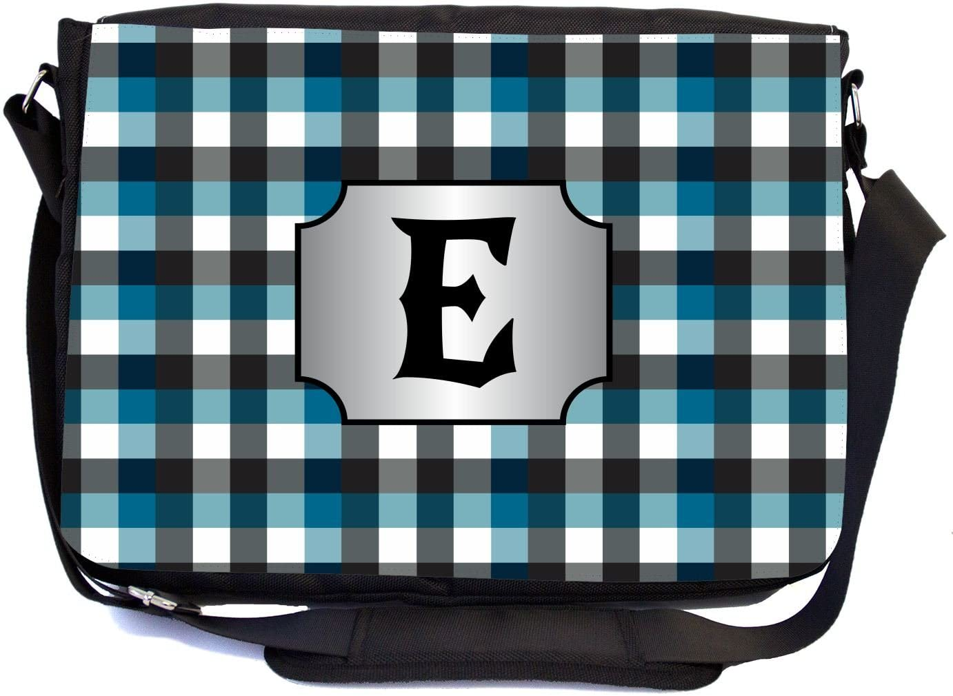 Rikki Knight LetterE Initial Blue Black Grey Plaid Monogrammed Design Messenger School Bag (mbcp-cond45983)