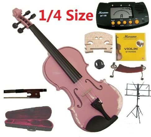Merano 1/4 Size Pink Violin with Case and Bow+Extra Set of String, Extra Bridge, Shoulder Rest, Rosin, Metro Tuner, Music Stand, Mute