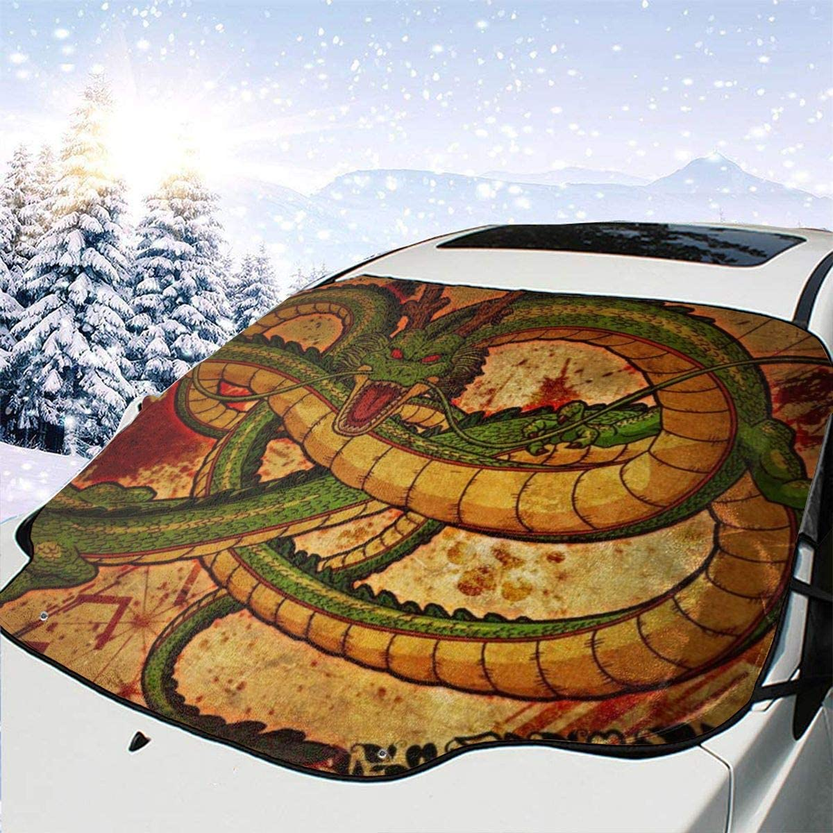 THONFIRE Car Front Window Windshields Ice Sunshade Chinese Dragon Cover Windproof Blocks Heat Keeps Your Vehicle Cool Visor Protector Automotive Summer Heatshield