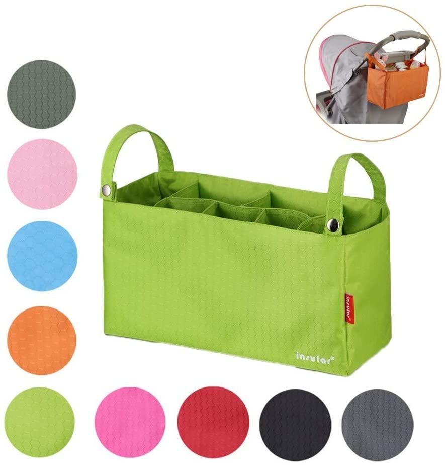 Nwhw Stroller Organizer Travel Bag - Lightweight Design Storage Pockets for Bottles, Diapers, Toys, Snacks, Fits All Baby Stroller Models - Green