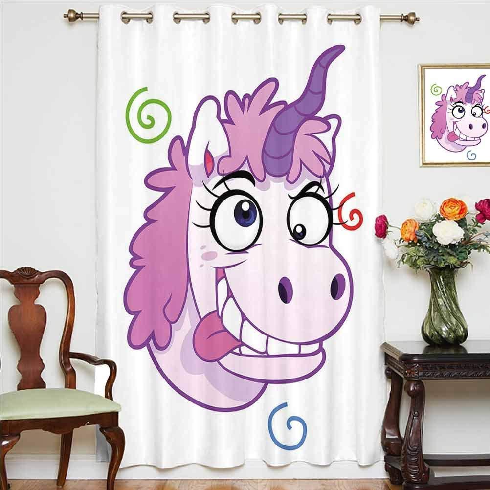 Funny Sliding Door Curtain Crazy Unicorn with Happy Face Girls Kids Princess Life Nursery Bizarre Cartoon Decorative Thermal Backing Sliding Glass Door Drape ,Single Panel 52x84 inch,for Kid's RoomLil