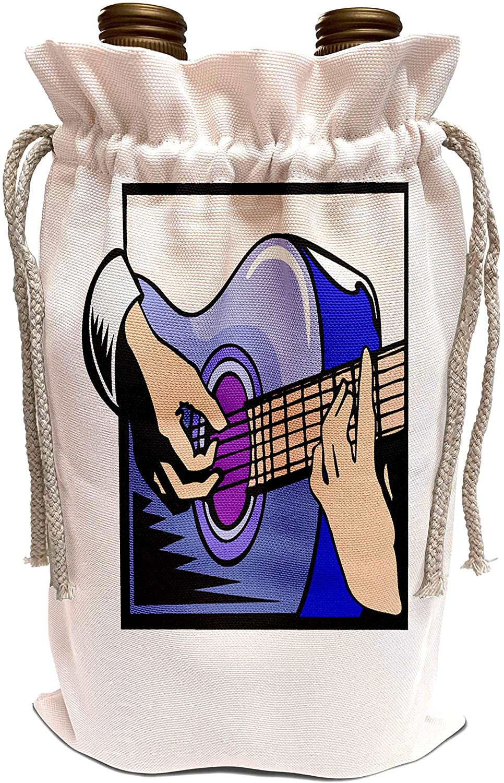 3dRose Susans Zoo Crew Music Instrument Guitar - acoustic guitar hand playing graphic - Wine Bag (wbg_175846_1)