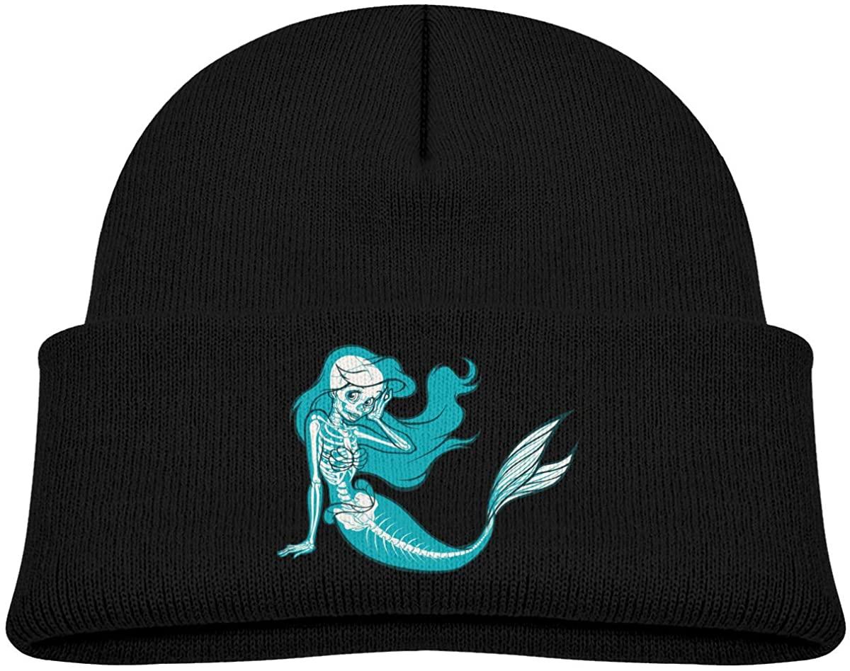 Toddler's Beanie Skeletons Little Mermaid Cuffed Knit Hat Skull Cap