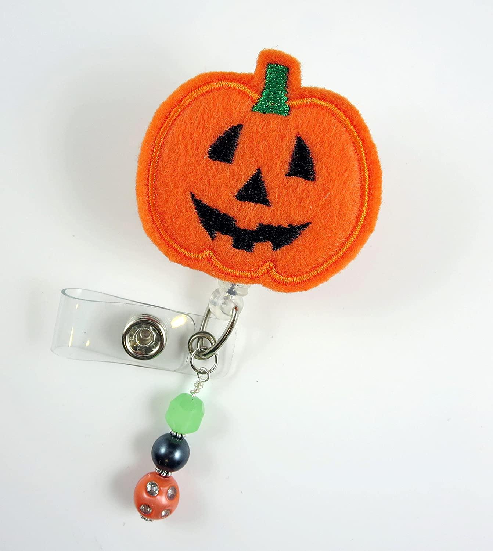 Pumpkin Face Jack-O-Lantern - Nurse Badge Reel - Retractable ID Badge Holder - Nurse Badge - Badge Clip - Badge Reels - Pediatric - RN - Name Badge Holder