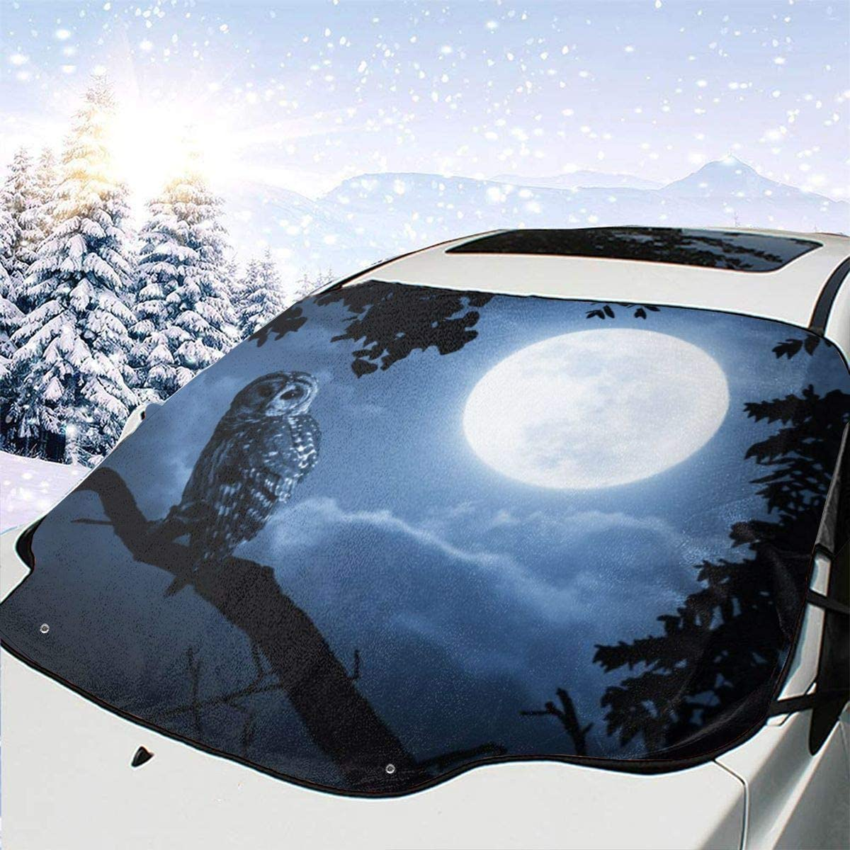 THONFIRE Car Front Window Windshield Winter Sun Shades Hallloween Night Owl Cover Rainproof Blocks Heat Damage Free Visor Protector Trucks Summer Heatshield