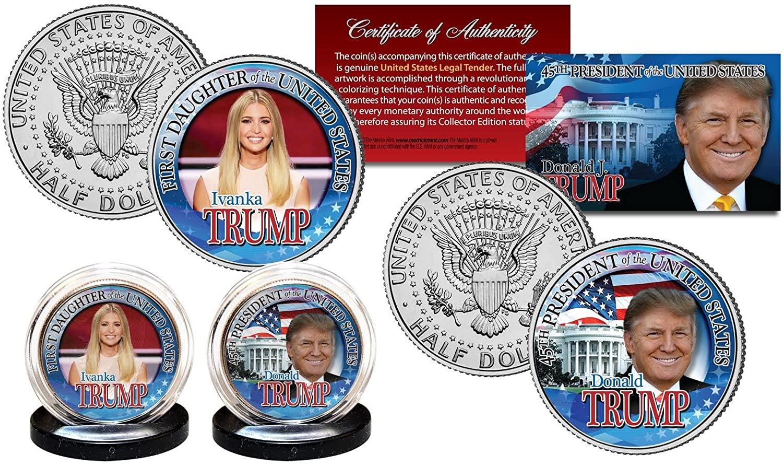 DONALD TRUMP 45th President & IVANKA First Daughter JFK Kennedy U.S. 2-Coin Set