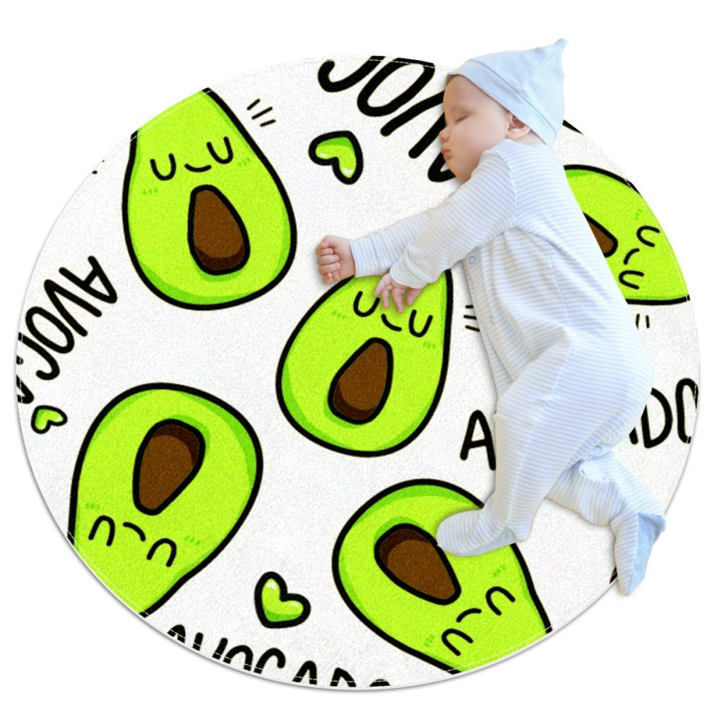 Cute Avocado Green Round Rugs Anti-Skid Living Room Bedroom Kitchen Circle Area Rugs Baby Nursery Rugs Kids Rugs 31.5x31.5 inches