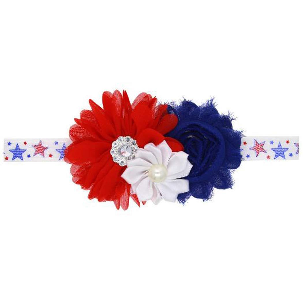 Baby Headband Bows Flower Hair Band Accessories Headwear for 4th of July TS-FD13 (Chiffon Flower)