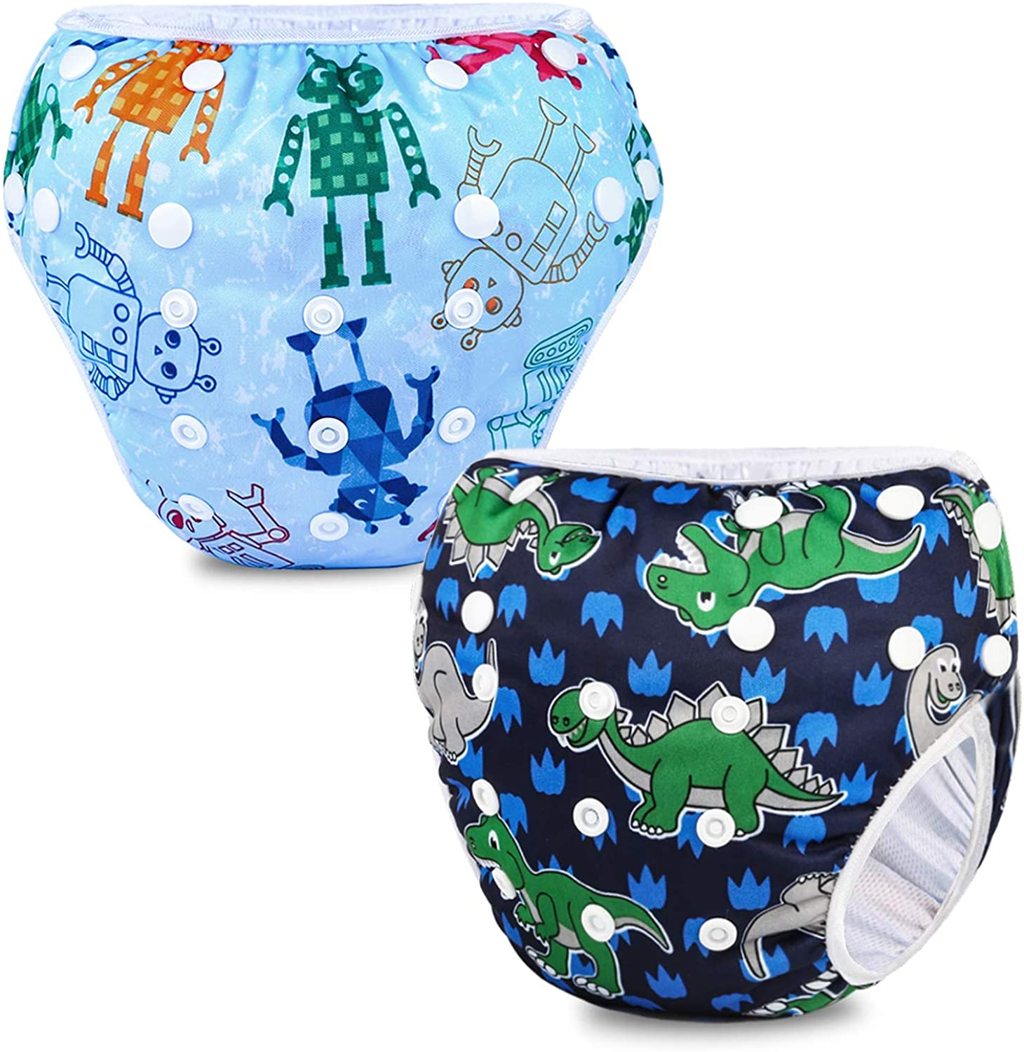 Phogary Boys' Baby Snap Reusable Absorbent Swimsuit Diaper(2-pack for 6.6-33lbs)