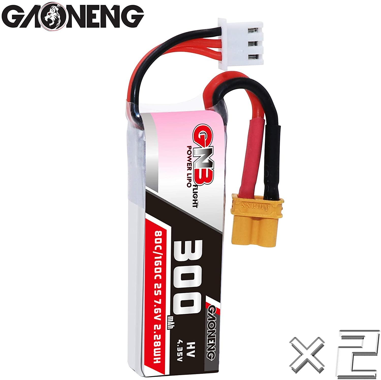 GAONENG 2Packs GNB 2S 300mAh LiPo 7.6v LiHV XT30 80C for 3
