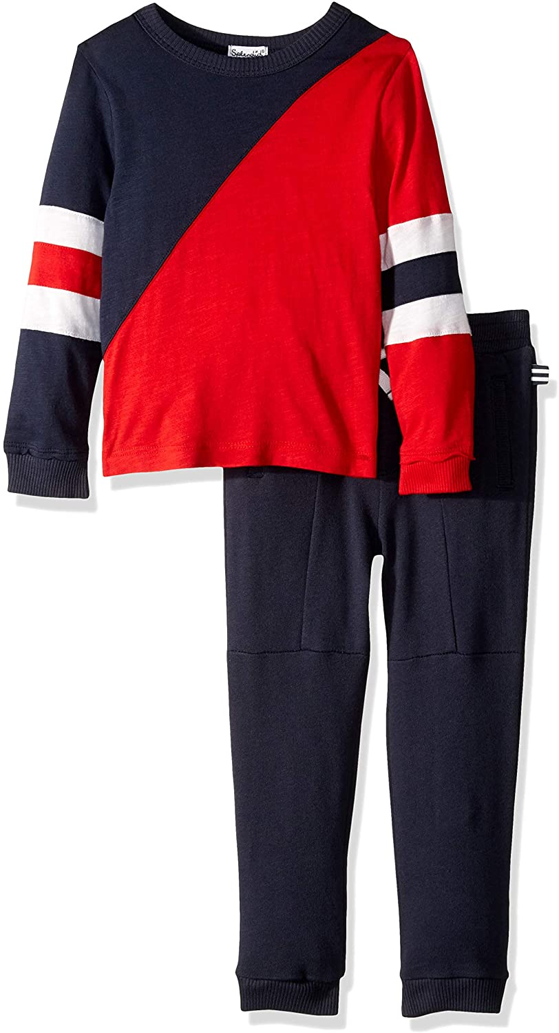 Splendid Little Boys' Kids and Baby Long Sleeve Top and Bottom 2 Piece Set, Navy/Red, 7