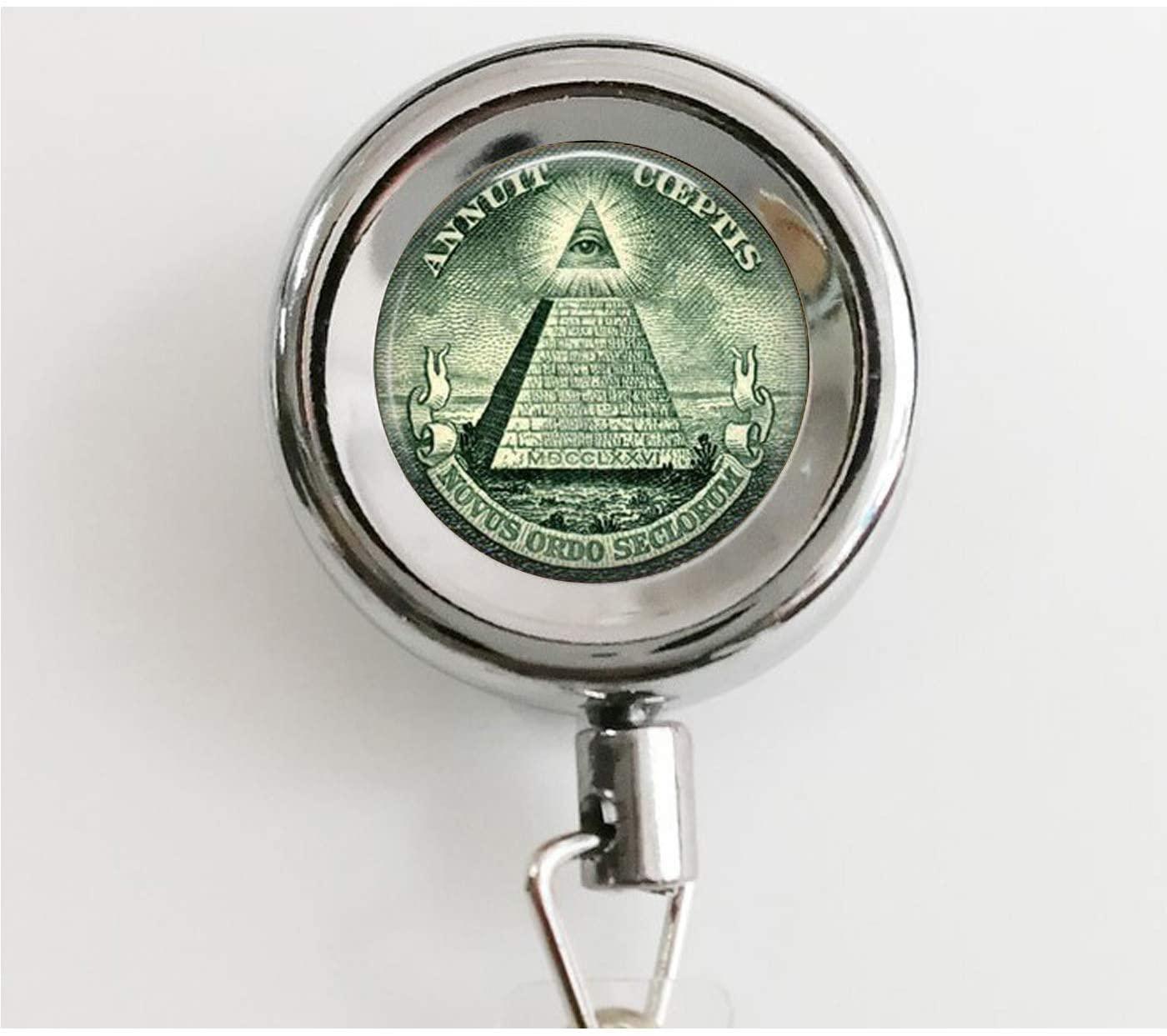 All Seeing Eye - Illuminati Dollar Bill - Eye of Providence - Pyramid - Dollar Bill Keychain Retractable Badge Reel with Waterproof ID Holders & Keychain
