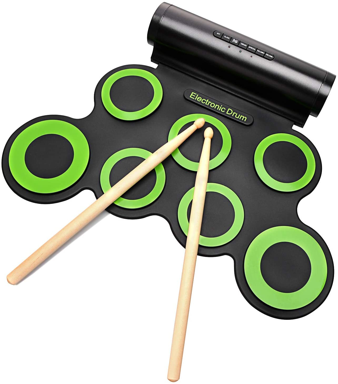roboller Set, Portable Electronic Built-In Speaker (DC Powered) -Digital Roll-Up Touch 7 Labeled Pads and 2 Foot Pedals, Midi Drum Up to 10H Playing Time, Holiday Gift for Kids, 3