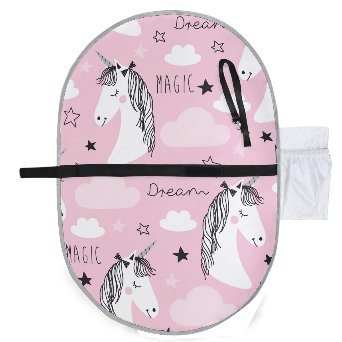 ATONO Pink Magic Unicorn Dream Stars Portable Changing Pads Toddler Mattress Pads Bed Urine Pad Slip-Resistant Leak Proof 20''X27'' Waterproof Foldable Wetting Incontinence Cover Baby Bedding