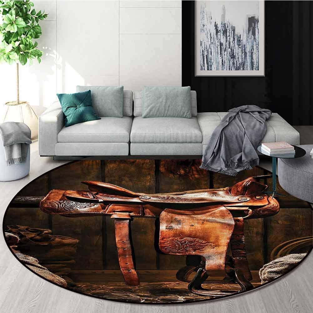 RUGSMAT Western Round Area Rug Carpet,Cowboy Rodeo Theme Ranch Non-Skid Bath Mat Living Room/Bedroom Carpet Diameter-55
