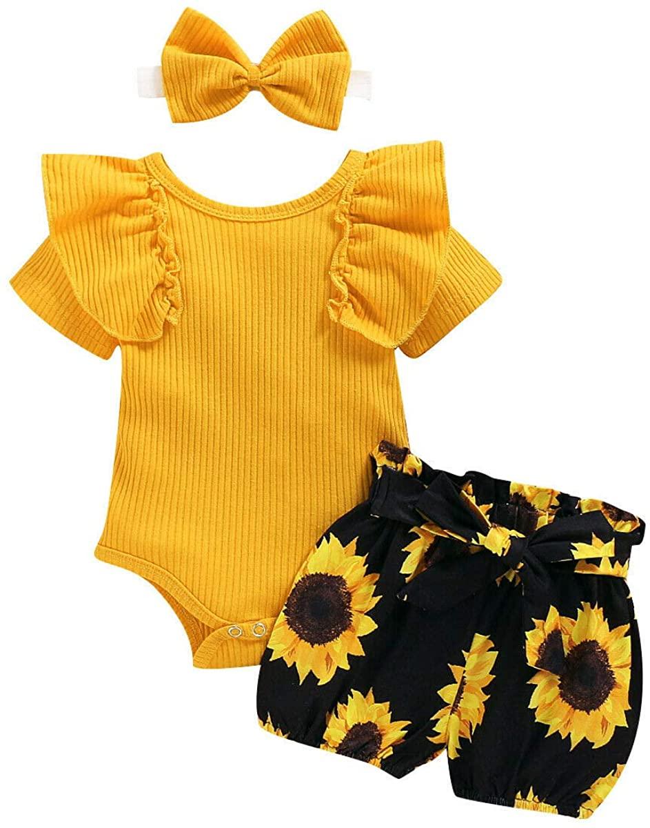 Dragon Honor Newborn Baby Girl 3PCS Clothes Floral T Shirt Tops Shorts Headband Outfits Sets