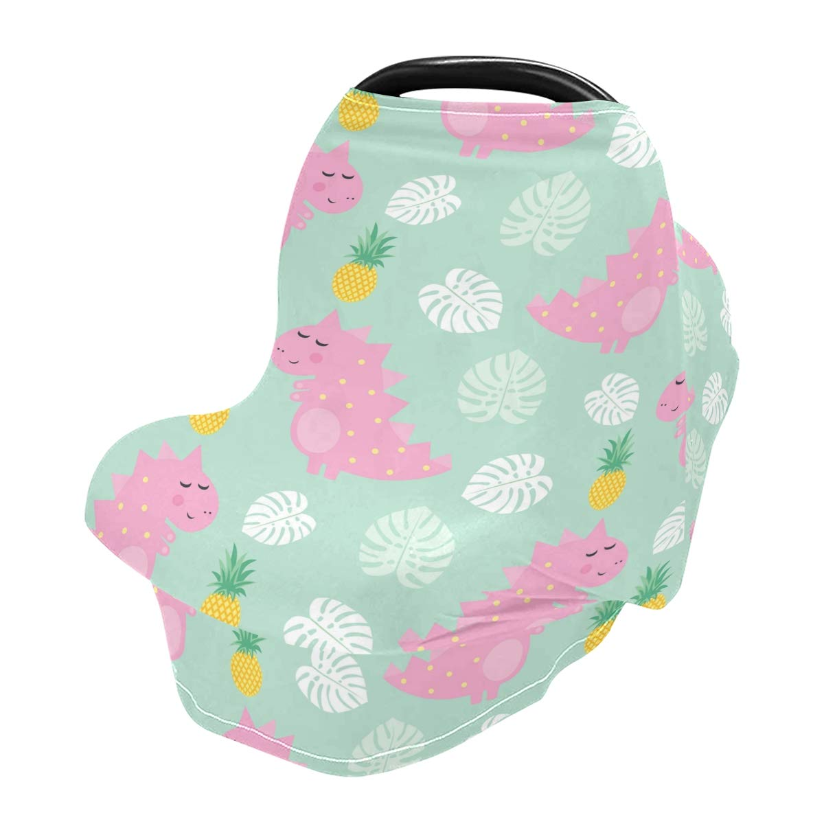 Nursing Cover Breastfeeding Scarf Pink Dinosaur with Pineapple- Baby Car Seat Covers, Infant Stroller Cover, Carseat Canopy for Girls and Boys(y)