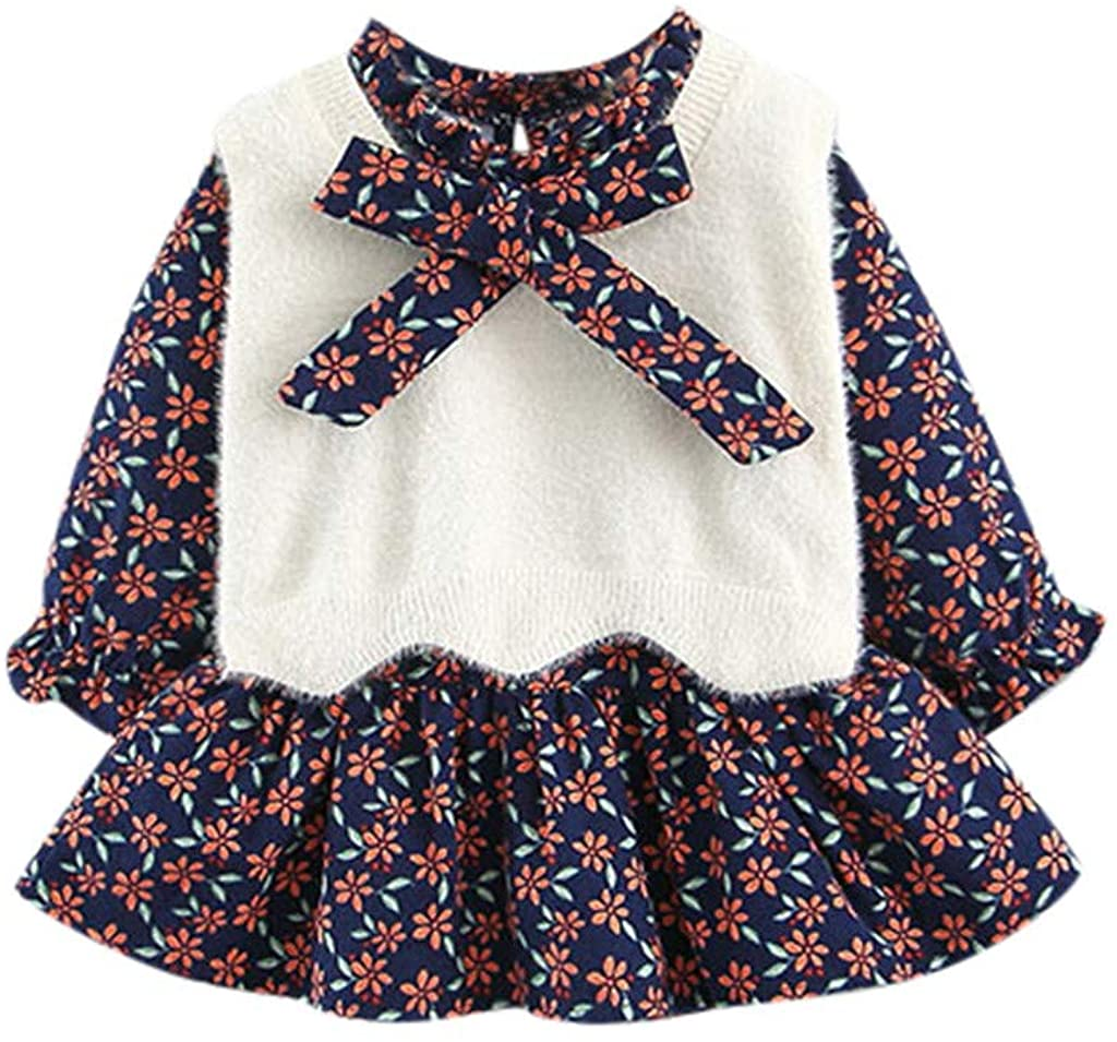 Tomppy Newborn Baby Girls Dress Set Infant Long Sleeve Floral Princess Dress+Knitted Waistcoat Toddler Girl Clothes Outfits
