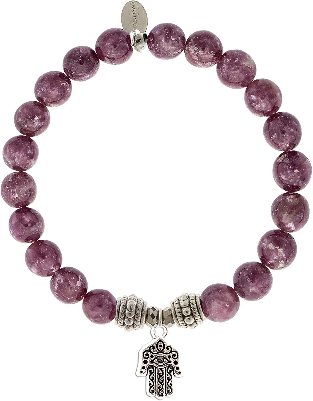 EvaDane Natural Lepidolite Gemstone Rope Bead Hamsa Charm Stretch Bracelet