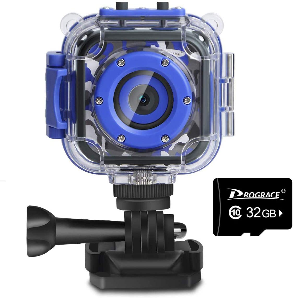 PROGRACE Children Kids Waterproof Camera HD 1080P Action Camera for Toddler(Blue) Bundle with 32GB Memory Card Class 10 TF Card