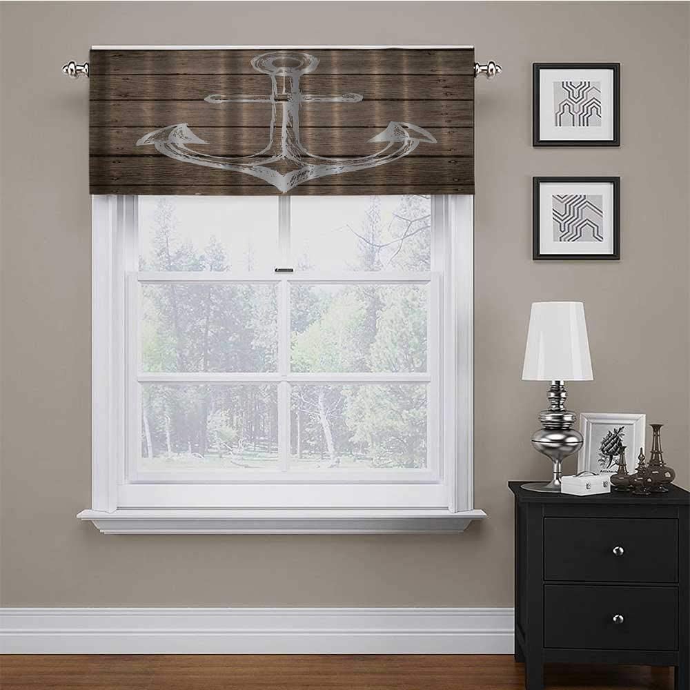 Window Curtain Valance Hand Drawing Boating Sketch Taupe Rustic Wooden Planks Coastal Home Buoy Kids Machine Washable Energy Saving Window Valance for Kids Girl Baby Nursery Bedroom 56 x 16 Inch
