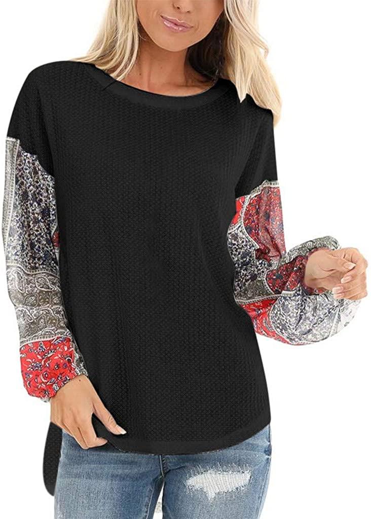 HNTDG Autumn Women's T-Shirt Knit Chiffon Patchwork Blouse Floral Print Long Sleeve Round Neck Tops