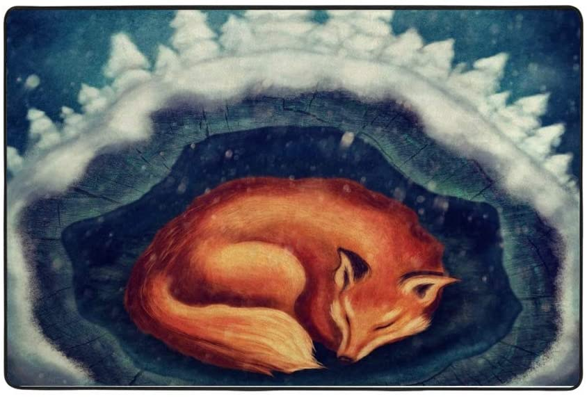 My Little Nest Red Fox Sleeping in Forest Kids Play Mat Baby Crawling Carpet Non Slip Soft Area Rug for Living Room Bedroom Dining Room Classroom Floor Mat Lightweight 3'3