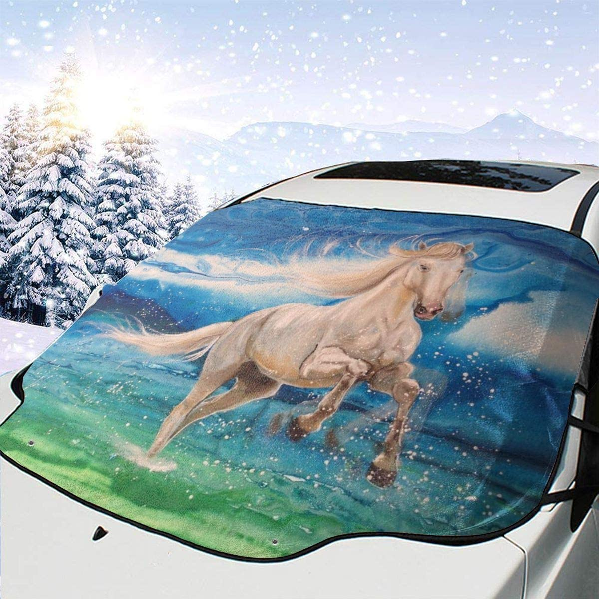 THONFIRE Car Front Window Windshields Winter Sunshade Animals Horse Beauty Cover Windproof Blocks UV Rays Damage Free Visor Protector Minivan Spring Heat Insulation