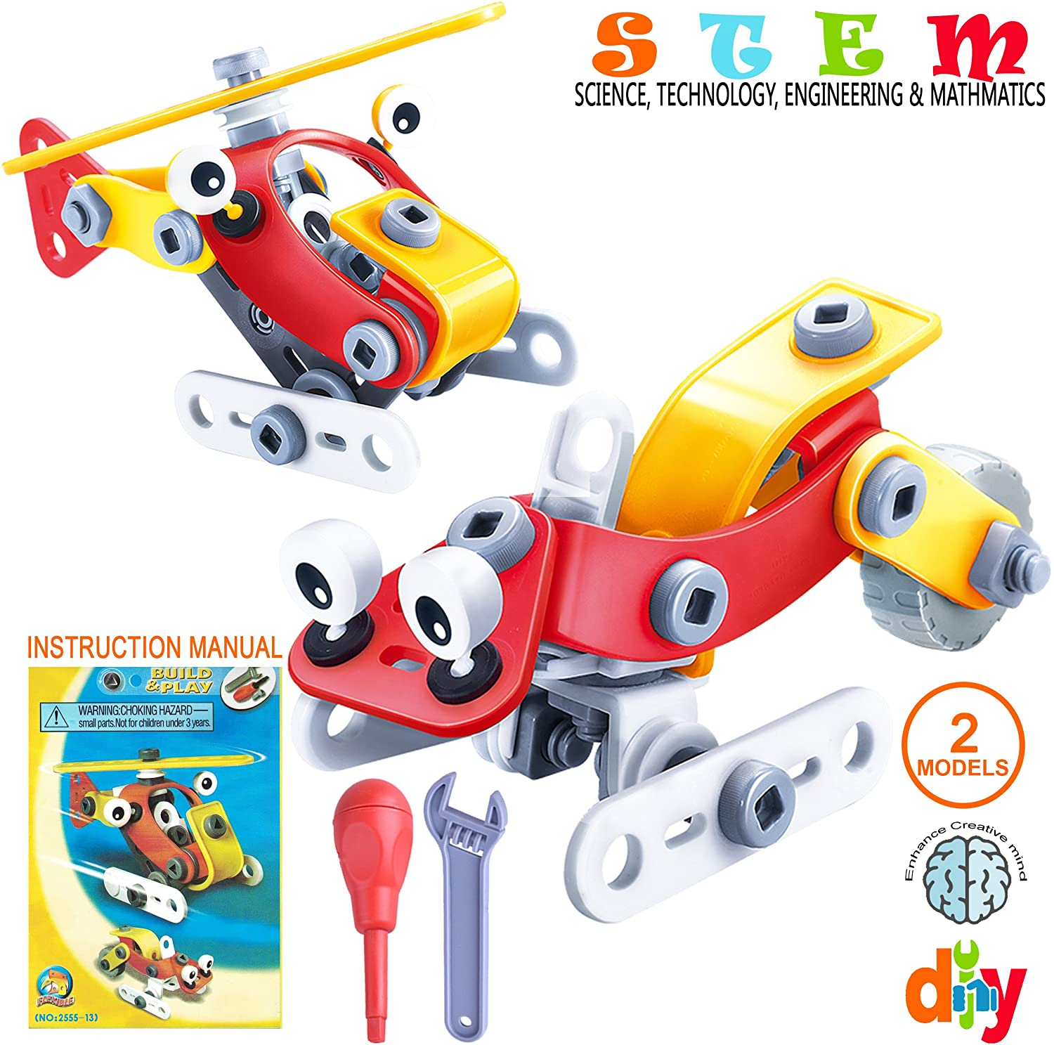 SAKIBO STEM Toys Kit Science Technology Engineering and Math Toys Creative Learning Building Blocks Set Best Toy Gift for Kids Boys Girls Aged 3 4 5 6+ (Helicopter - Snowmobile)