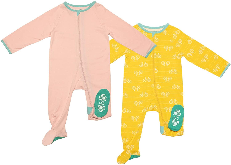 Lark Adventurewear: Premium Bamboo Zip Sleeper - No Slip Footie Pajamas (Baby, Boy, Girl 3M-2T),