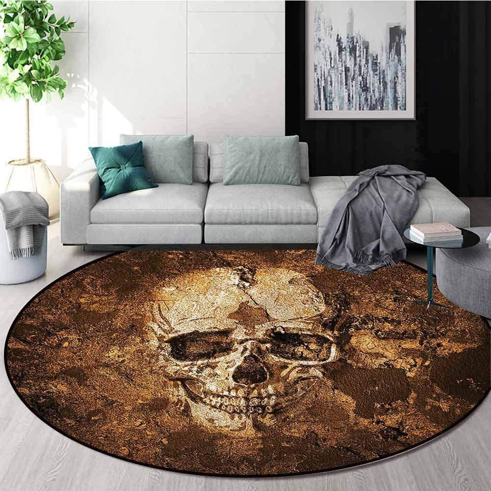 RUGSMAT Skull Modern Washable Round Bath Mat,Halloween Horror Theme Bone Home Decor Foor Carpet Round-39